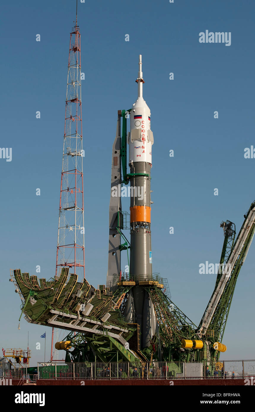 September 28, 2009 - The Soyuz rocket is seen shortly after arrival to the launch pad at the Baikonur Cosmodrome - Stock Image