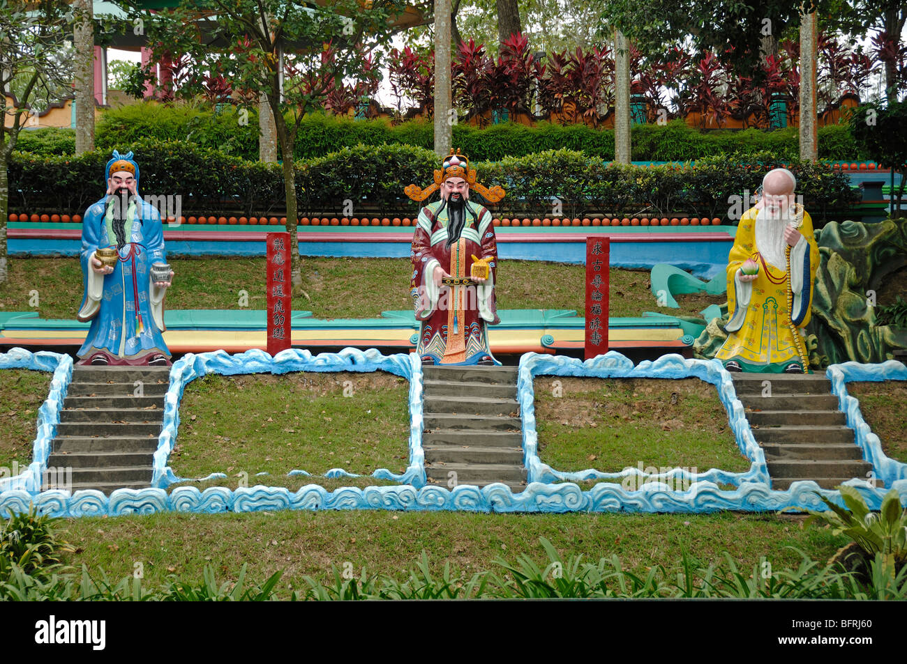 Fu, Lu & Shou, Chinese Gods or Deities of Good Fortune, Prosperity & Longevity, Tiger Balm Gardens Theme - Stock Image