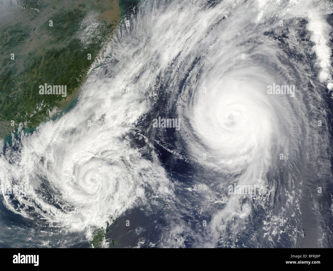 Tropical Storm Parma and Super Typhoon Melor. - Stock Image
