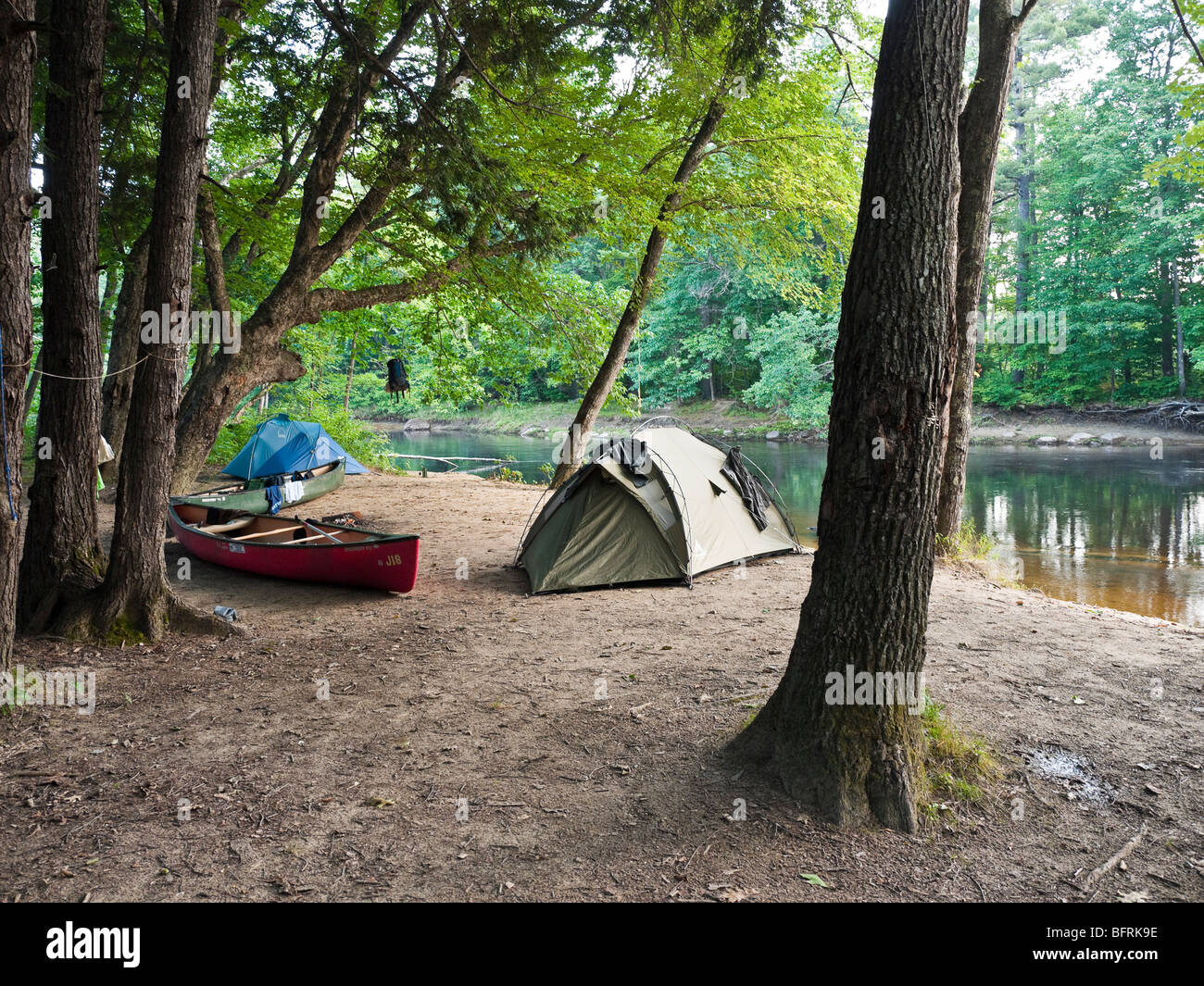 Campsite on the banks of the Saco River near Fryeburg Maine ME USA