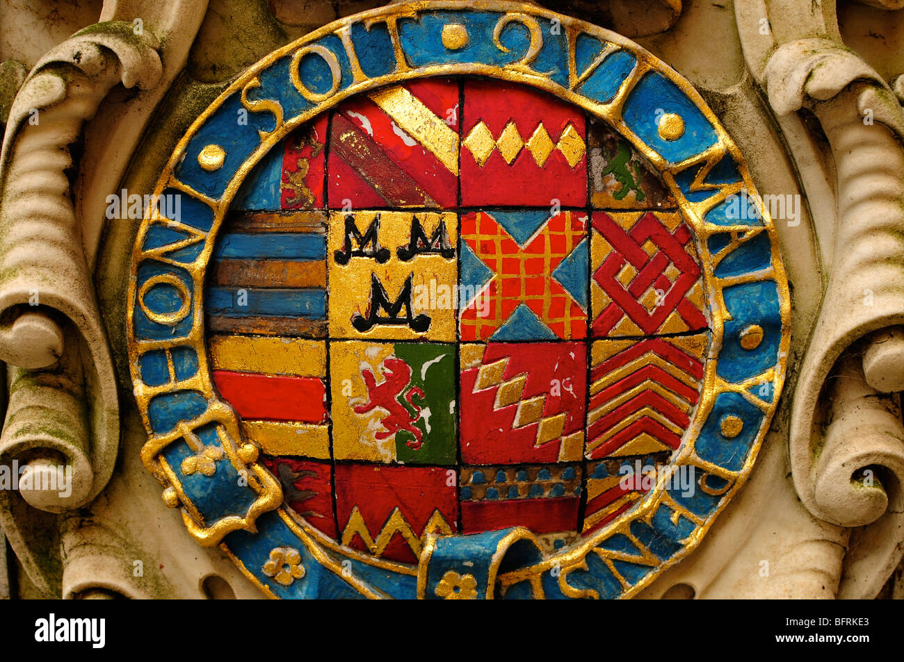 Emblem / crest at Bodleian Library, Oxford University, Oxford, England - Stock Image