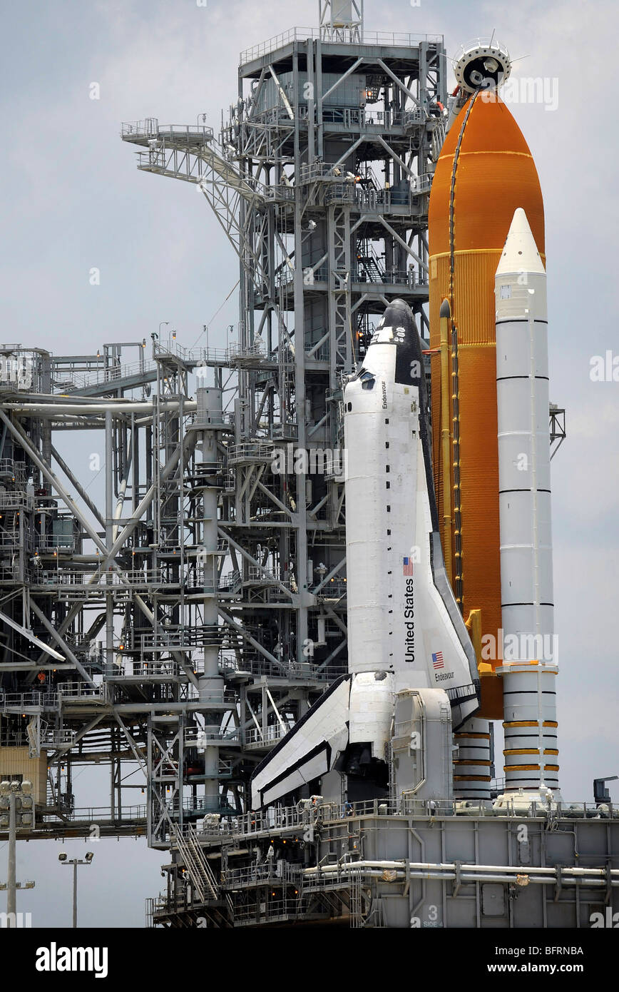 June 12, 2009 - Space Shuttle Endeavour is in place at Launch Pad 39A at the Kennedy Space Center in Cape Canaveral, - Stock Image