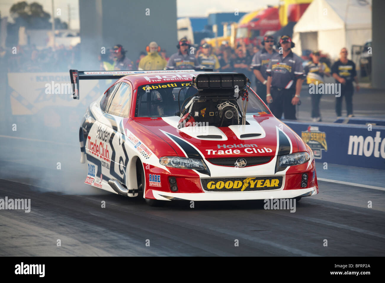 Australian Top Doorslammer driver, Maurice Fabietti, performing a burnout in his supercharged Holden Monaro. Stock Photo