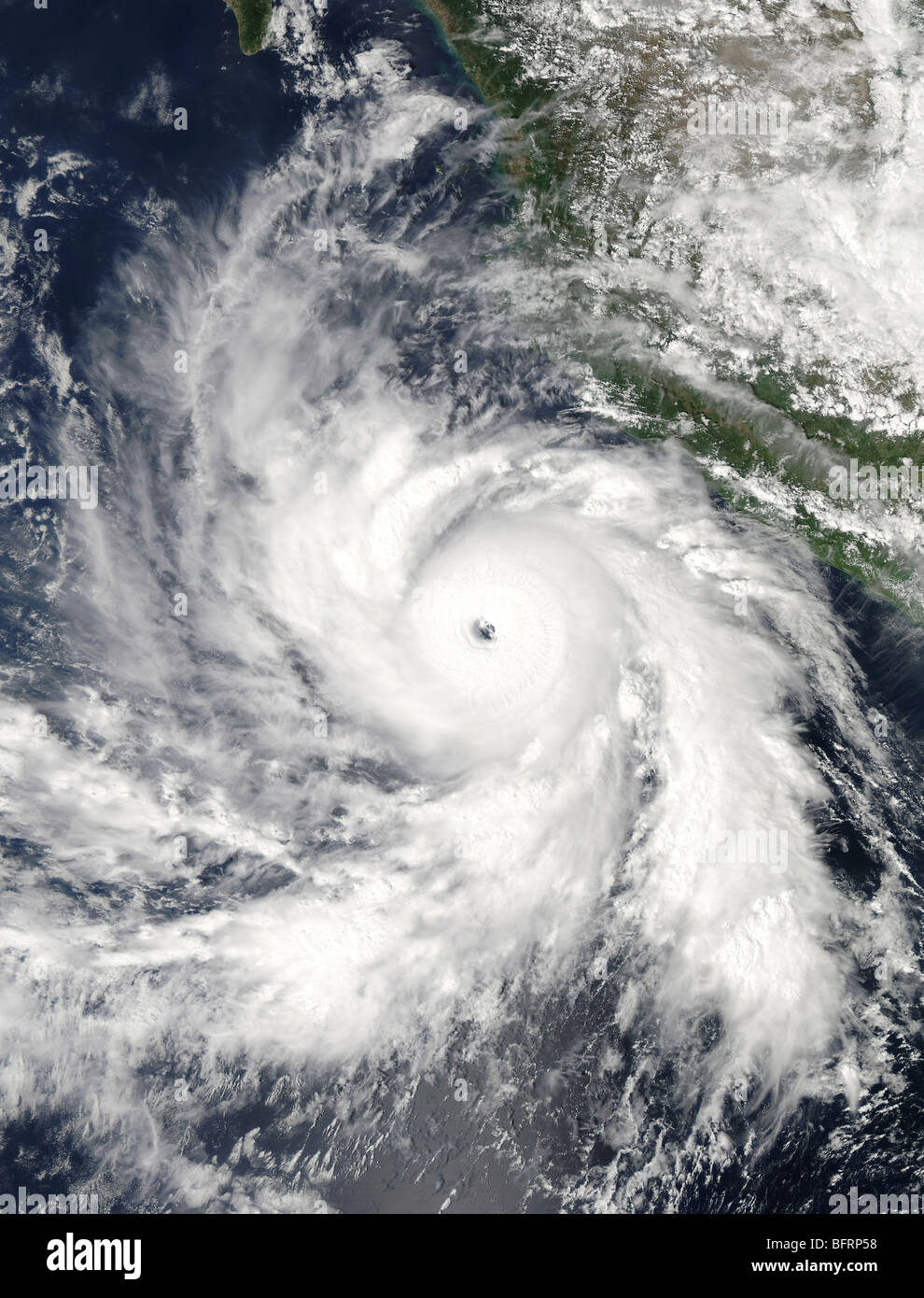 Hurricane Rick hovers over the eastern Pacific Ocean. - Stock Image