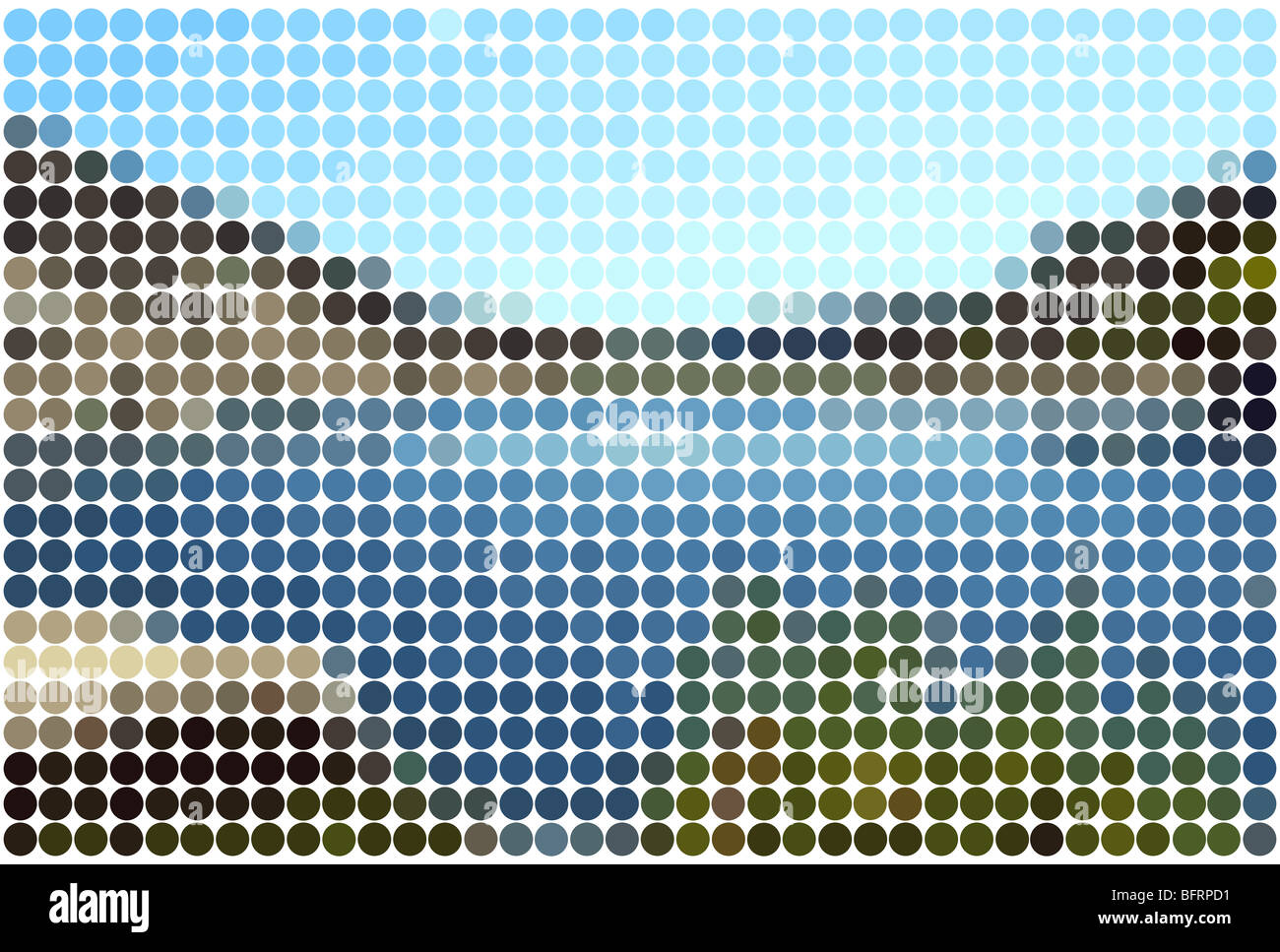 landscape background with solid colored circles in mosaic tile effect - Stock Image