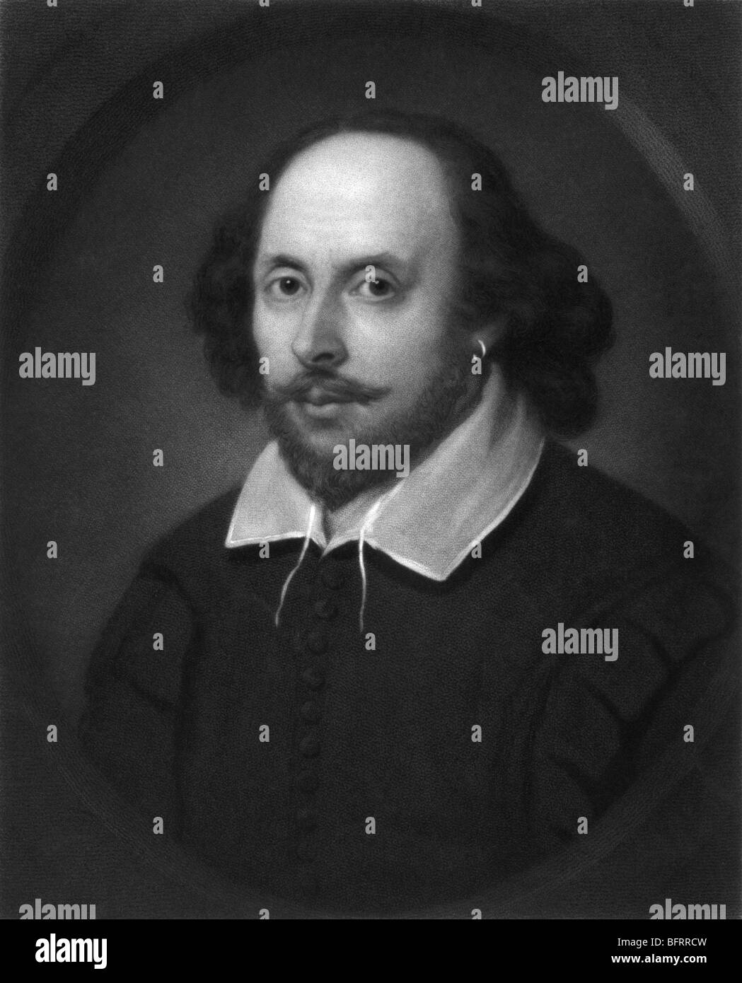 Portrait engraving c1849 of legendary English poet and playwright William Shakespeare (1564 - 1616). - Stock Image