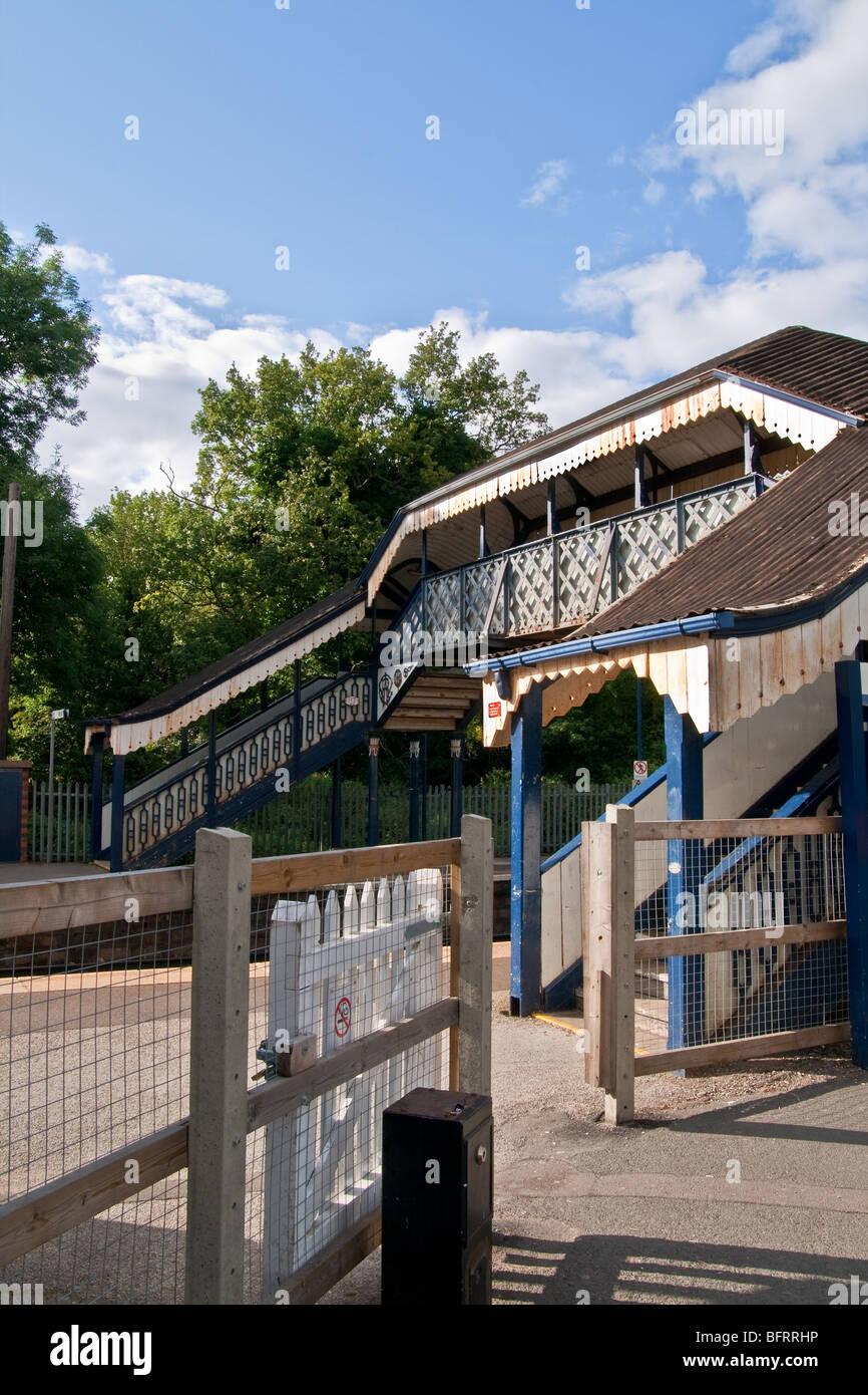 Hagley Train Station Pedestrian Footbridge, Hagley, Worcestershire, England Stock Photo