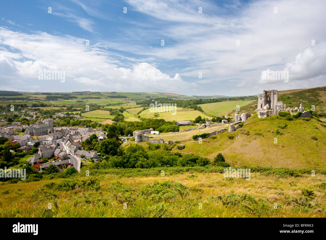 Corfe Castle from East Hill, Dorset England UK Stock Photo