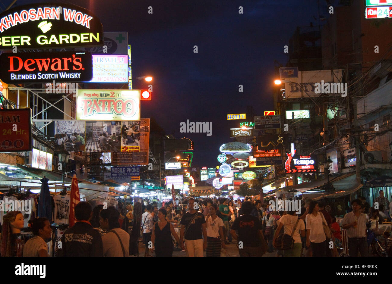 Neon lights on Khao San Road Bangkok - Stock Image