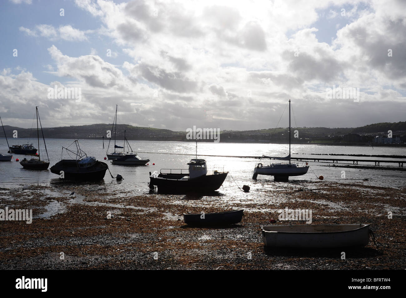 Views across the bay at Rhos on sea - Stock Image