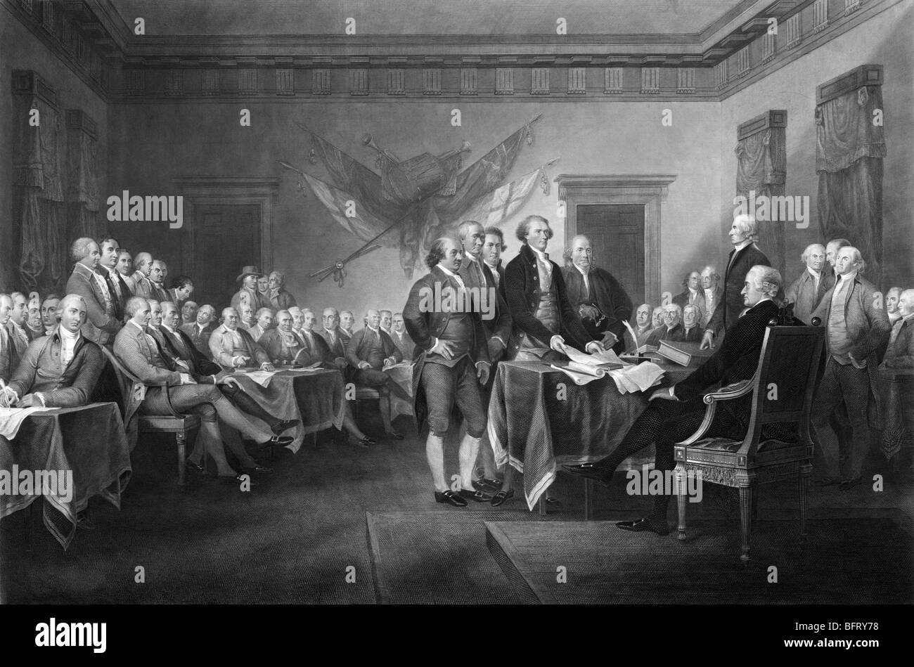 """Engraving print circa 1876 based on John Trumbull's famous painting """"Declaration of Independence"""" (commissioned Stock Photo"""