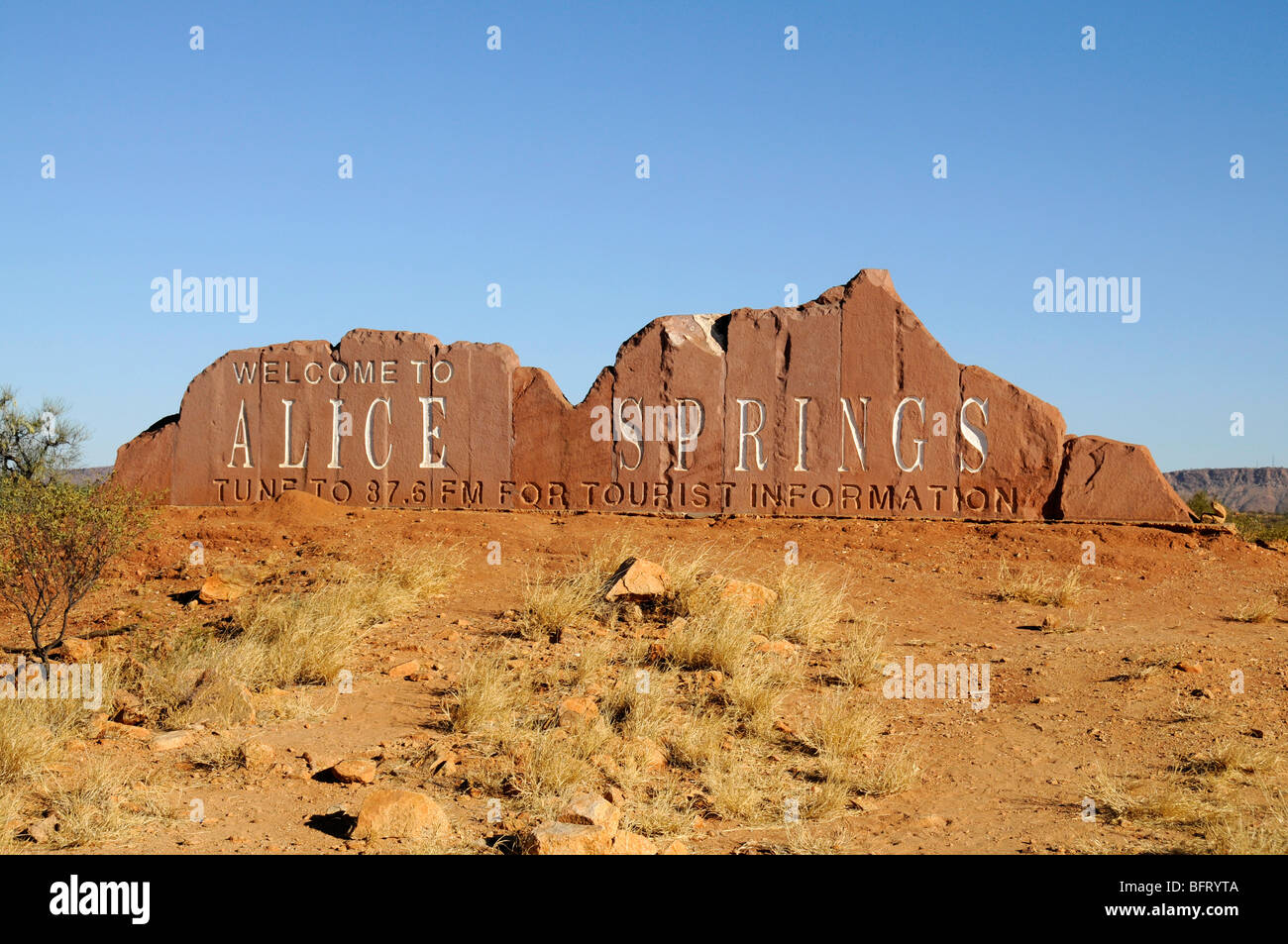A 'Welcome Alice Springs' road sign on the Stuart Highway in the Northern Territory. Australia. - Stock Image