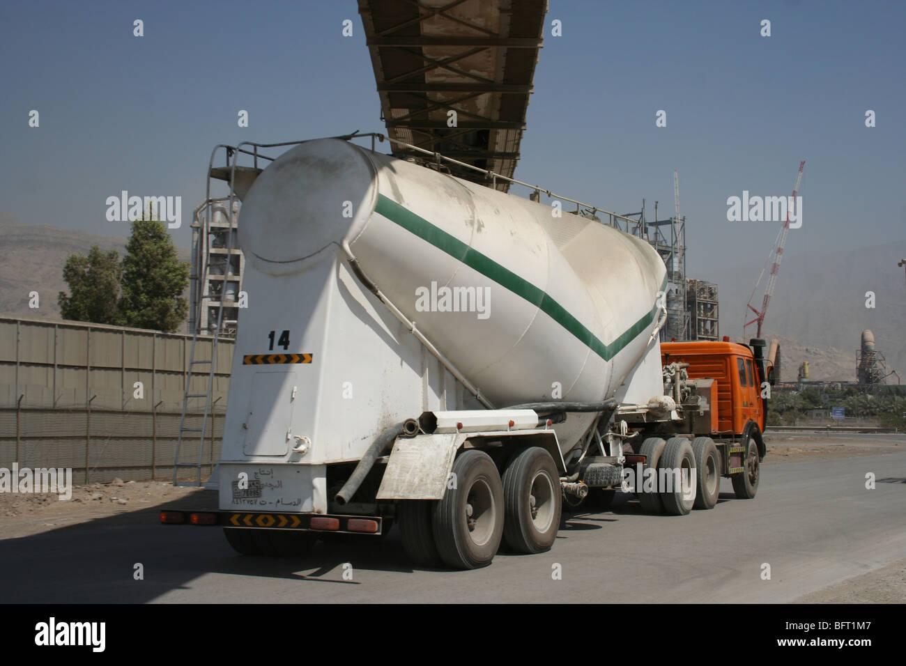 Ras Al Khaimah Cement Truck and Factory Uae Stock Photo
