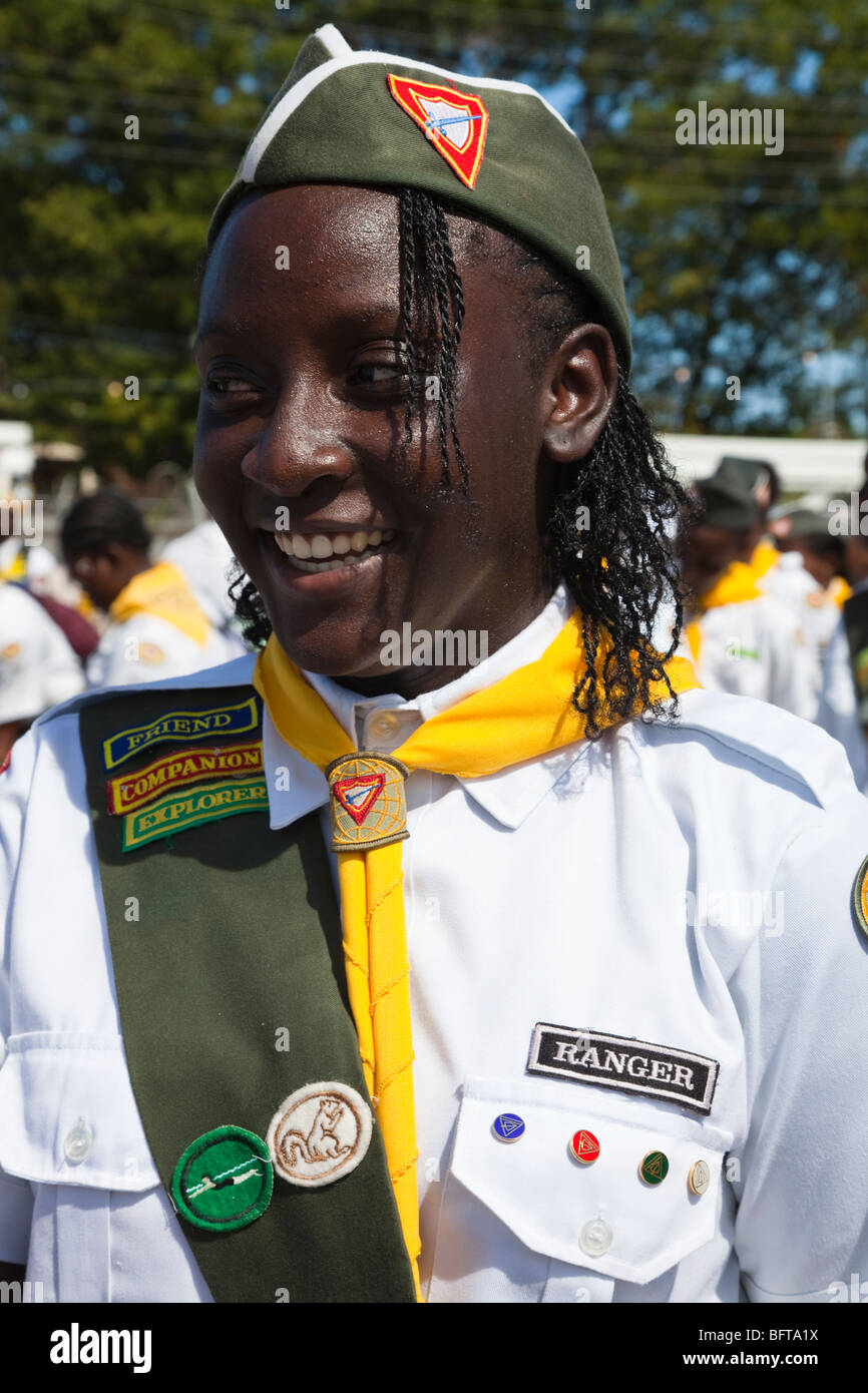 Portrait of a young black girl in her Girl Guides Rangers uniform - Stock Image