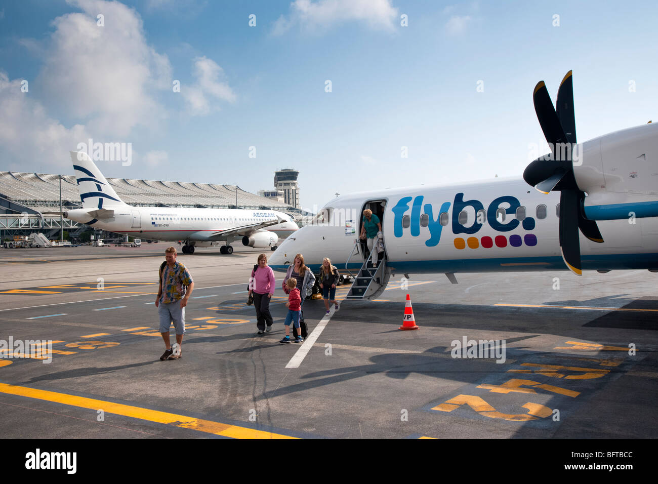 Flybe turboprop plane at Nice airport, Provence, France - Stock Image