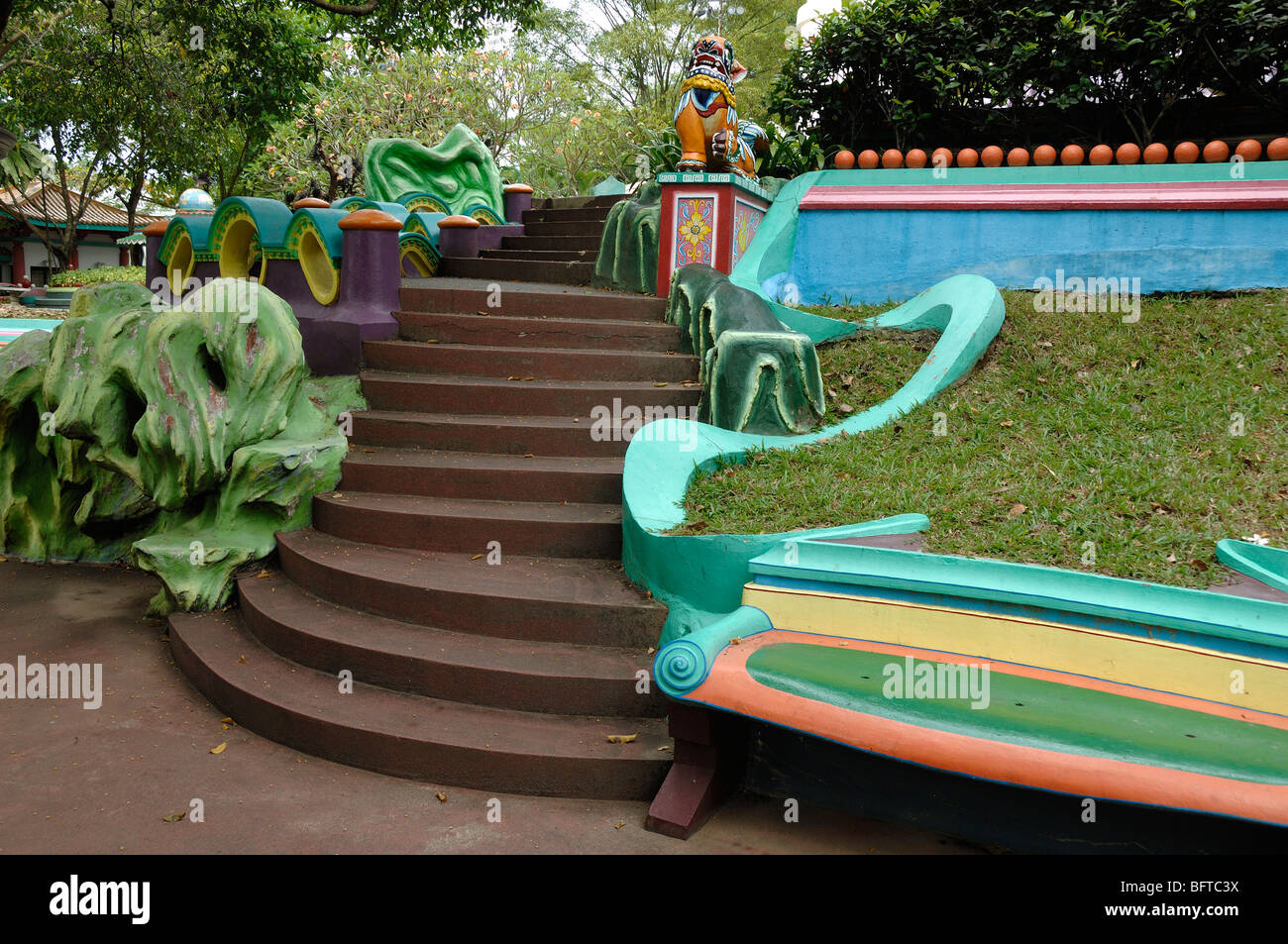Marvelous Multicolored Or Multicoloured Painted Concrete Park Bench Evergreenethics Interior Chair Design Evergreenethicsorg