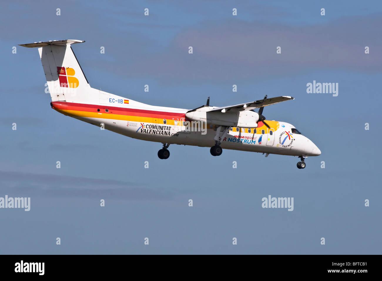 A De Havilland Canada/ Bombadier Dash 8 turbo prop feeder liner of the Spanish airline Air Nostrum/ Iberia - Stock Image