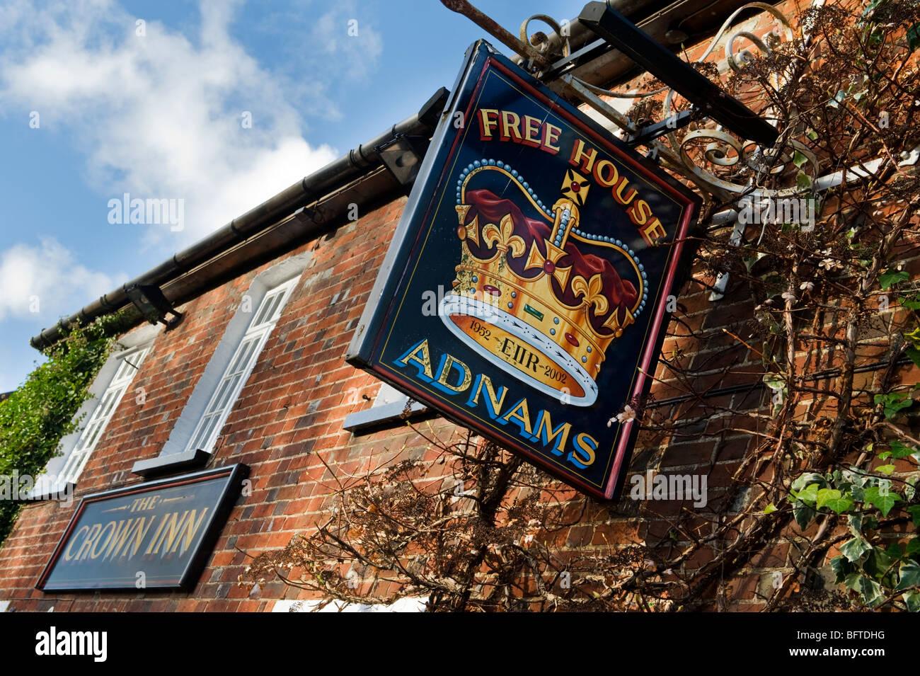The Crown inn pub sign in Little Missenden, Buckinghamshire UK - Stock Image