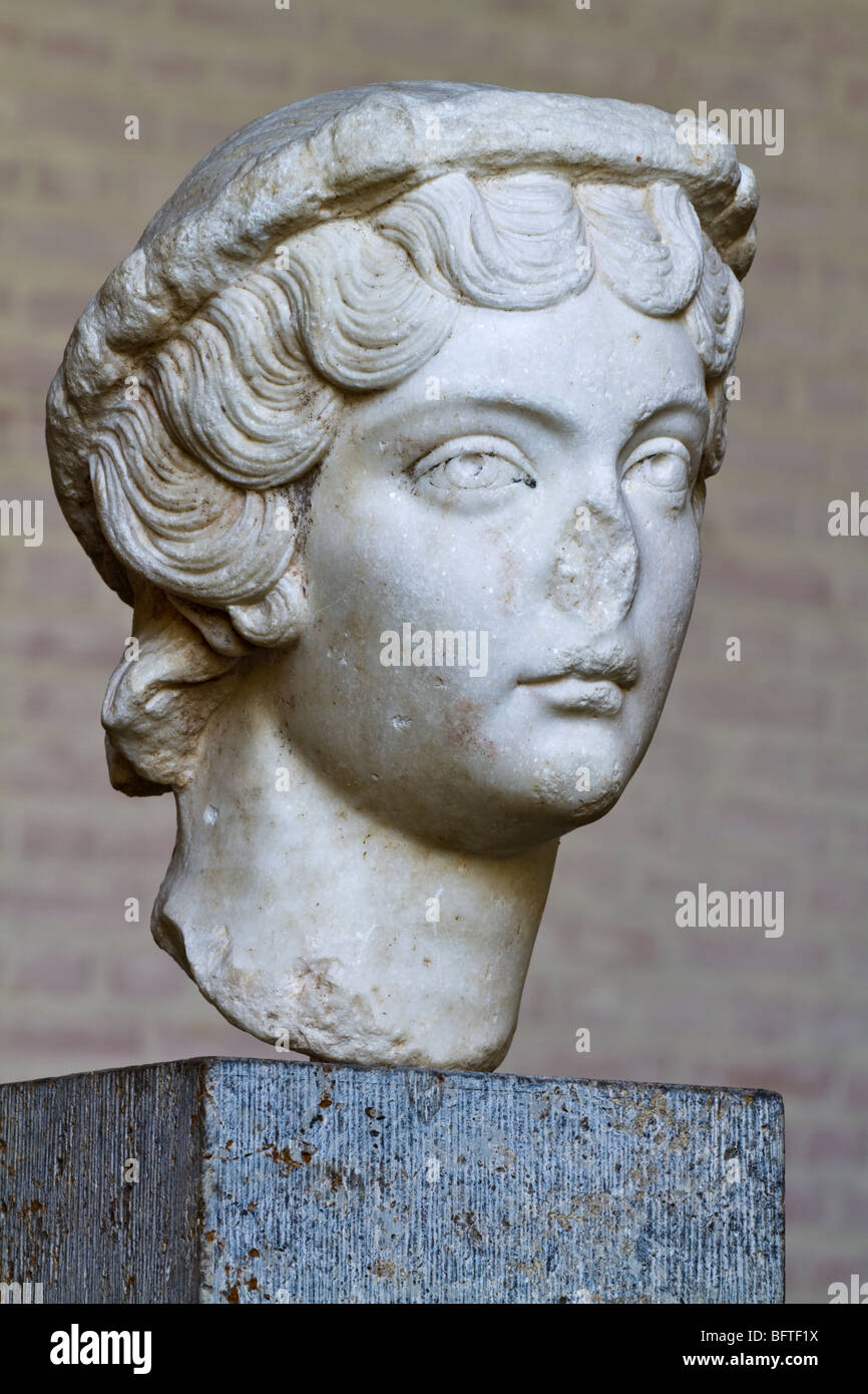 Portrait of the Roman Empress Faustina the Younger (Annia Galeria Faustina Minor) in the Munich Glyptothek, ca. - Stock Image