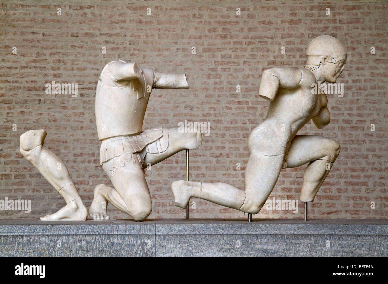 Group of warriors from the west pediment of the Temple of Aphaia at Aegina, ca. 490 BC. - Stock Image