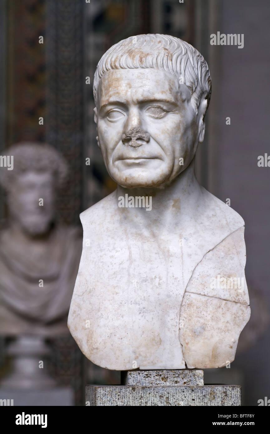 Portrait bust of an unidentified Roman man, ca. 110. - Stock Image