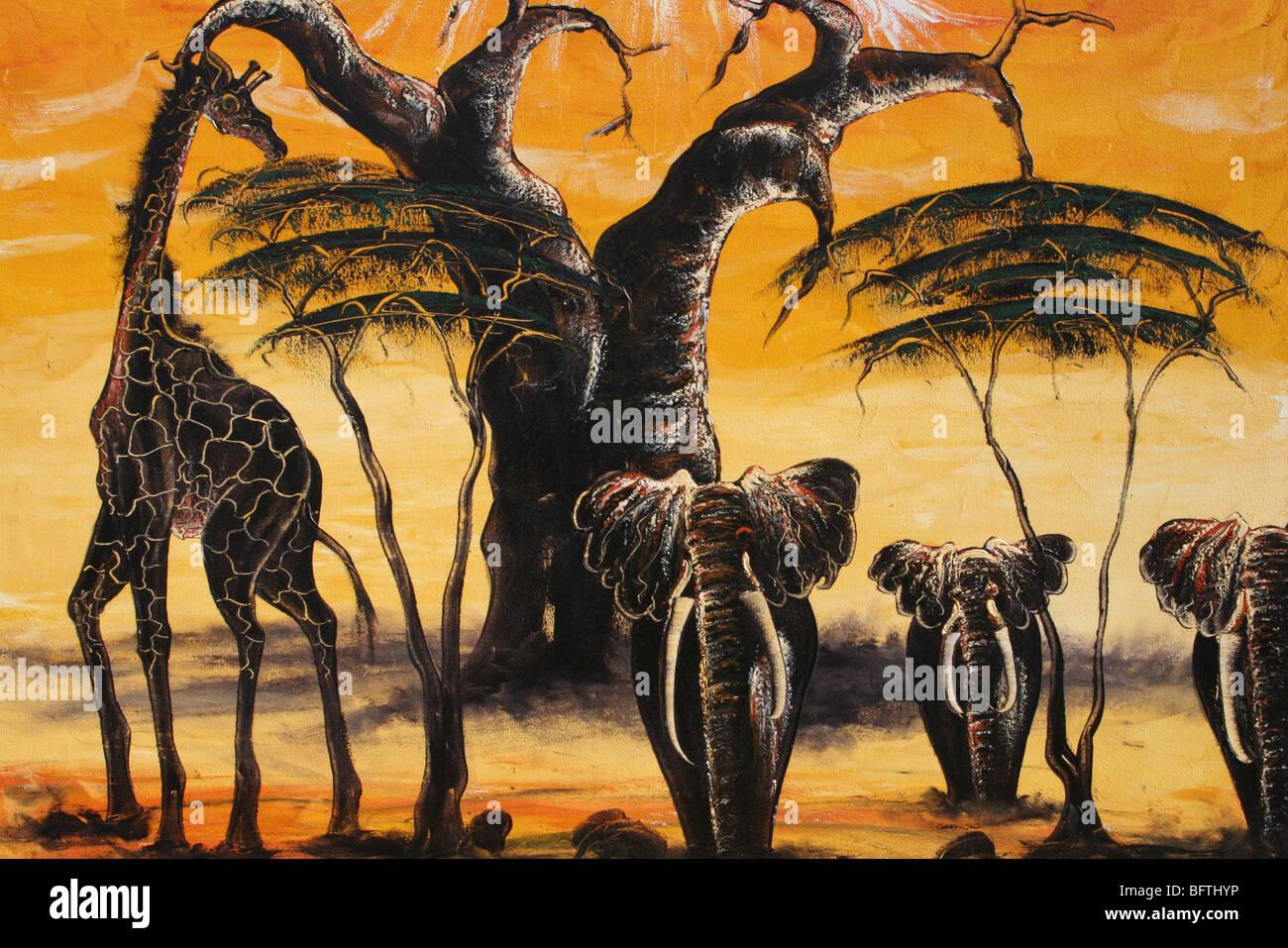 Traditional African Wildlife Painting Taken In Mto Wa Mbu, Tanzania - Stock Image