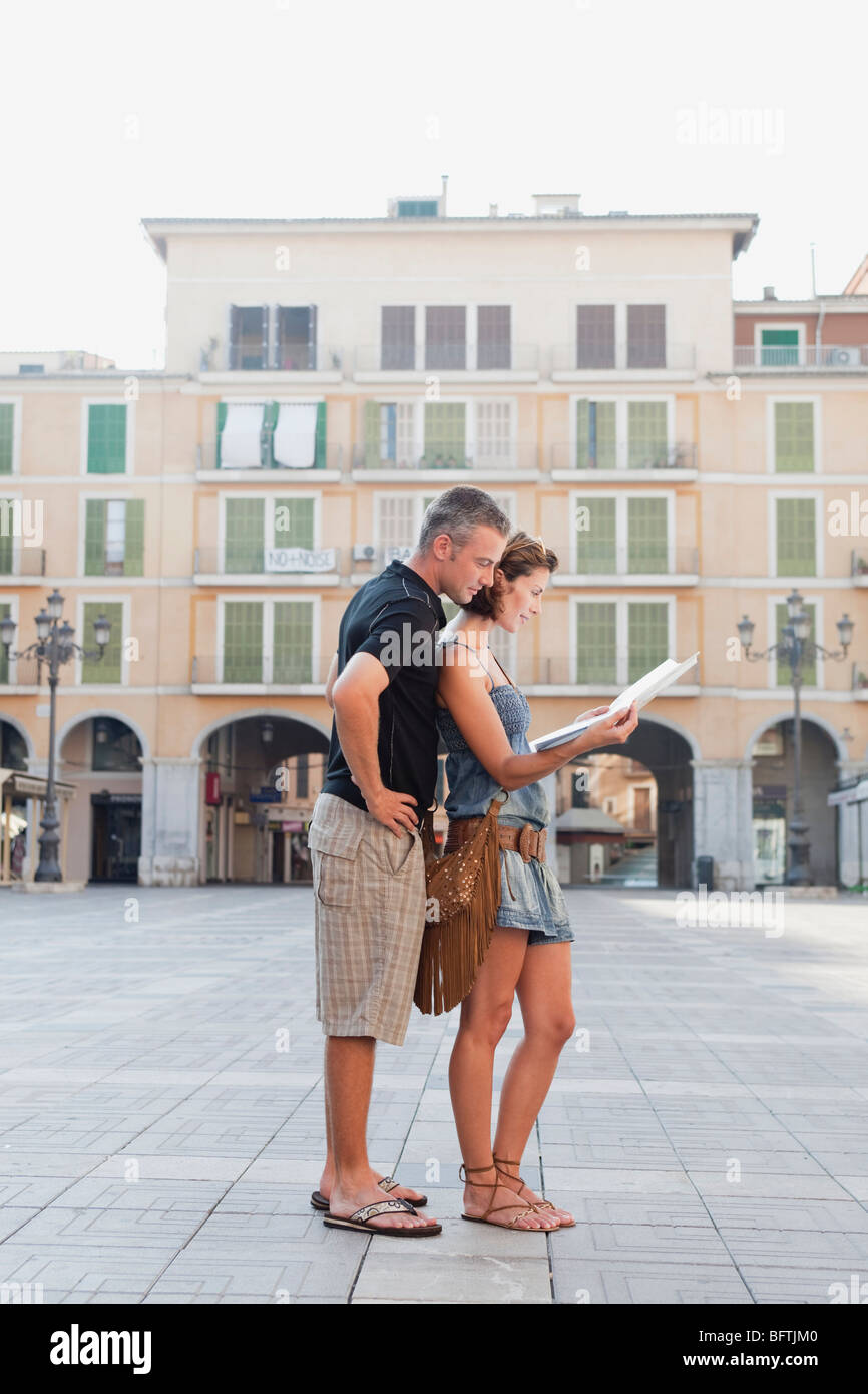 couple looking at map Stock Photo