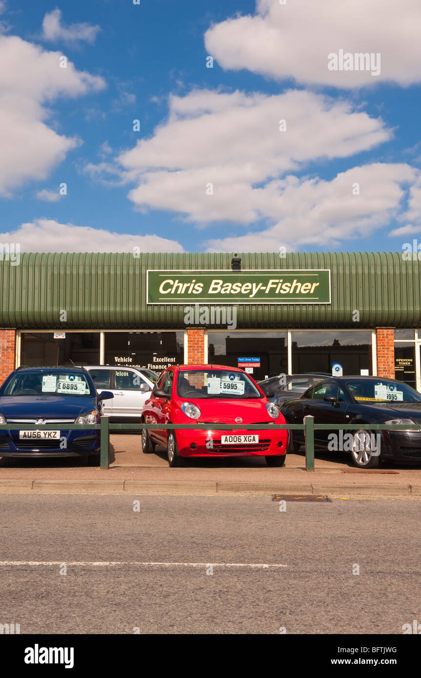 The Chris Basey-Fisher forecourt and showroom selling used cars in Beccles,Suffolk,Uk - Stock Image