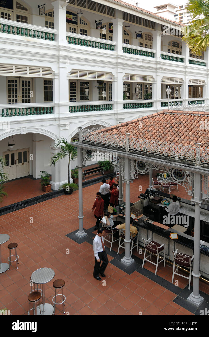 Raffles Hotel, Courtyard or Terrace Bar, Singapore - Stock Image