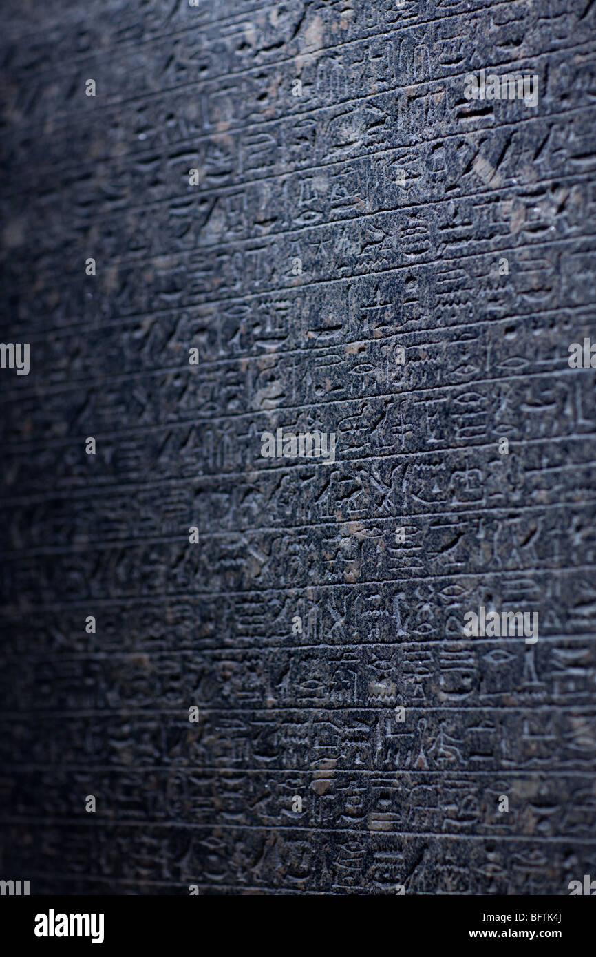 Closeup of the Rosetta stone - Stock Image