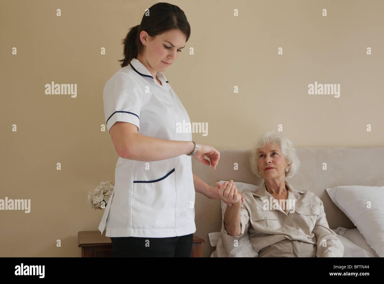 Nurse taking pulse of elderly woman - Stock Image