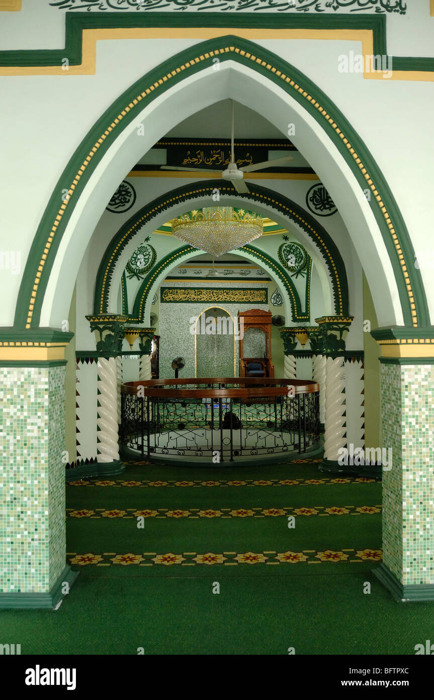 Interior of Prayer Hall, with Green Oriental Arches, Abdul Gaffoor Mosque, Little India, Singapore - Stock Image