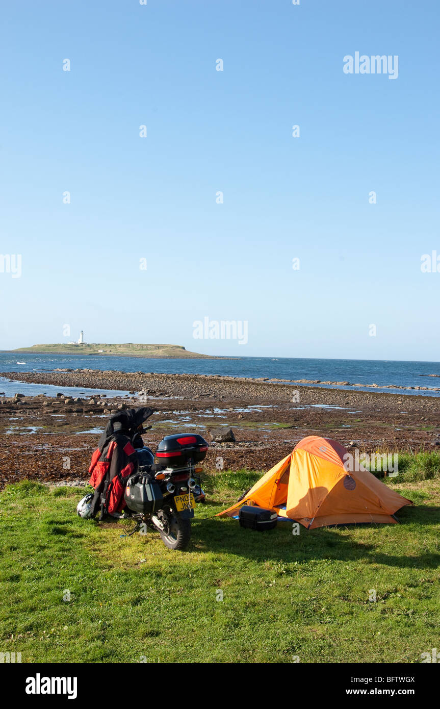 Seal shore campsite, Kildonan, Isle of Arran, Scotland - Stock Image