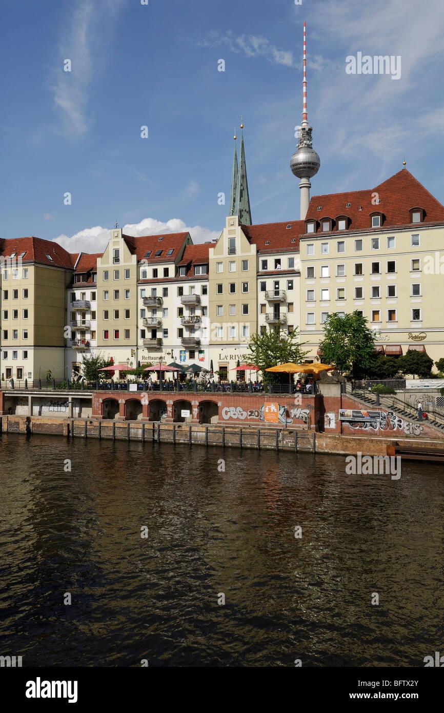 Berlin. Germany. Nikolaiviertel Nikolai Quarter, the reconstructed medieval heart of Berlin. - Stock Image