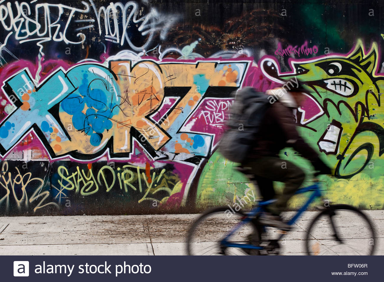 Graffiti lining the walls of the West Toronto Railpath Trail in Toronto Ontario Canada - Stock Image