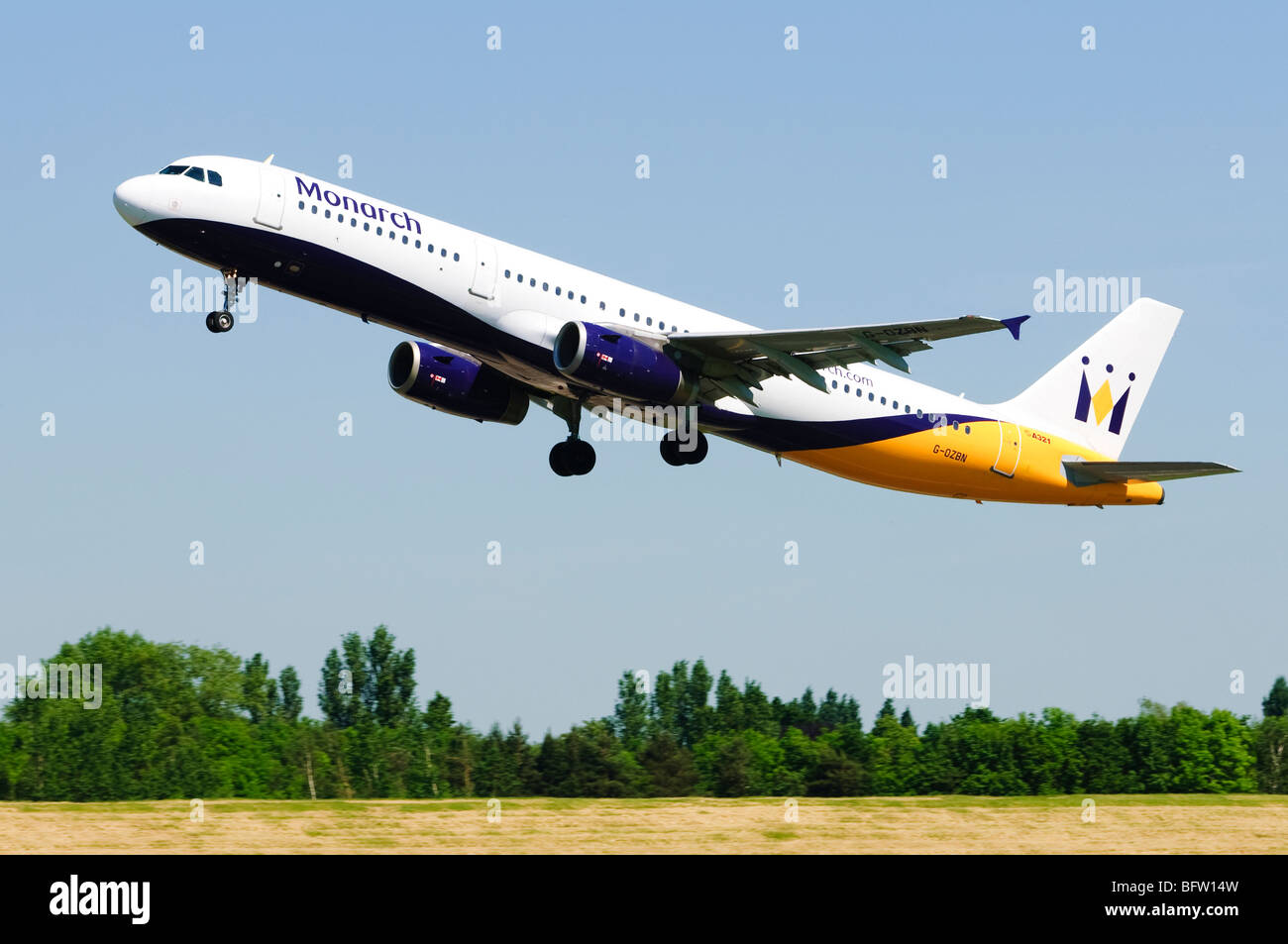 Airbus A321 operated by Monarch Airlines taking off at Birmingham Airport, UK. Stock Photo