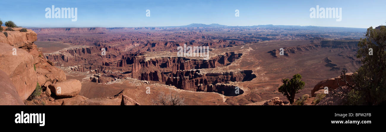 Panoramic view looking east into the White Buck canyon area from the Island in the Sky, Canyonlands National Park, - Stock Image