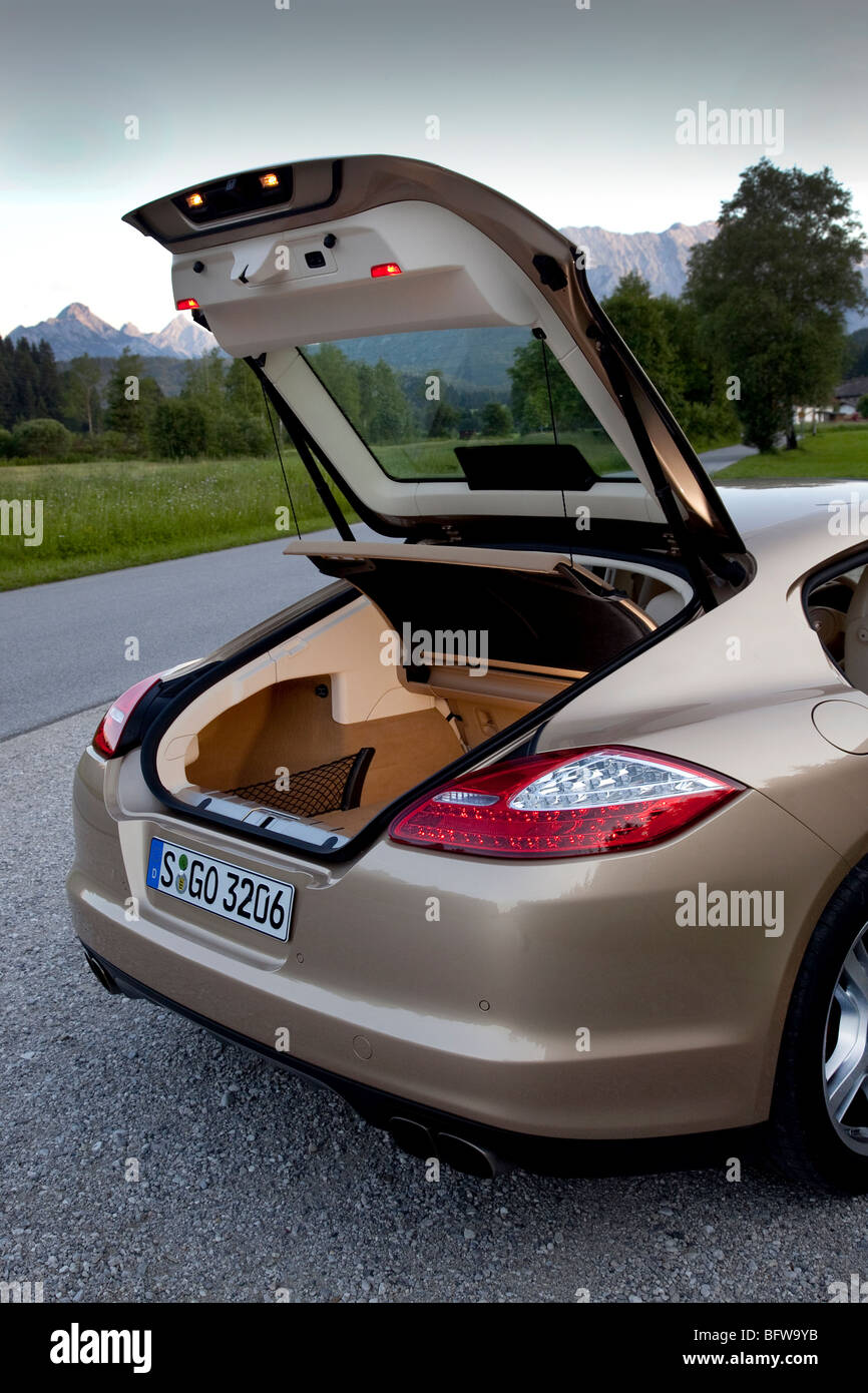 Porsche Panamera Turbo rear luggage boot and hatchback - Stock Image