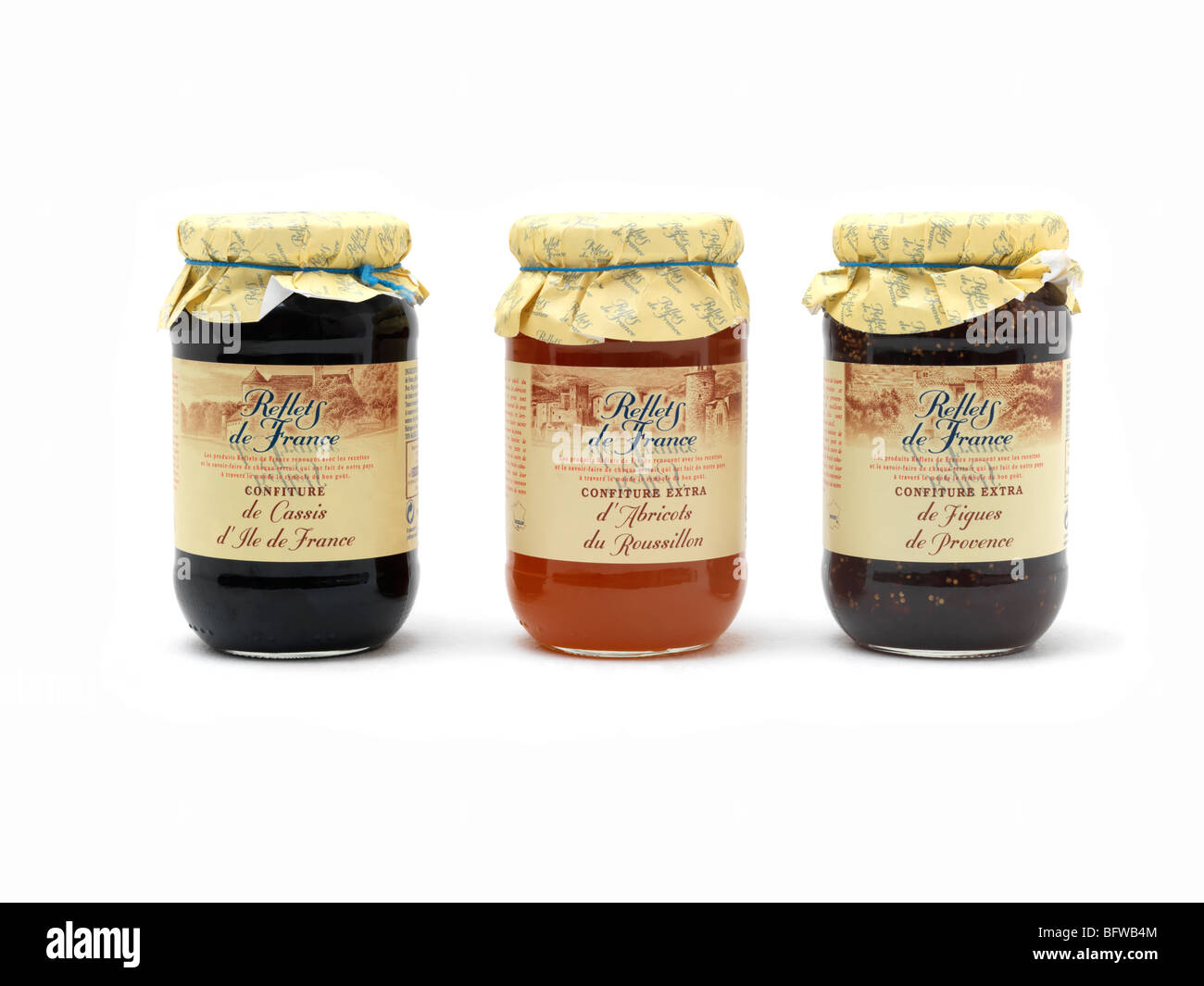 French Jam Fig Blackcurrent and Apricot - Stock Image