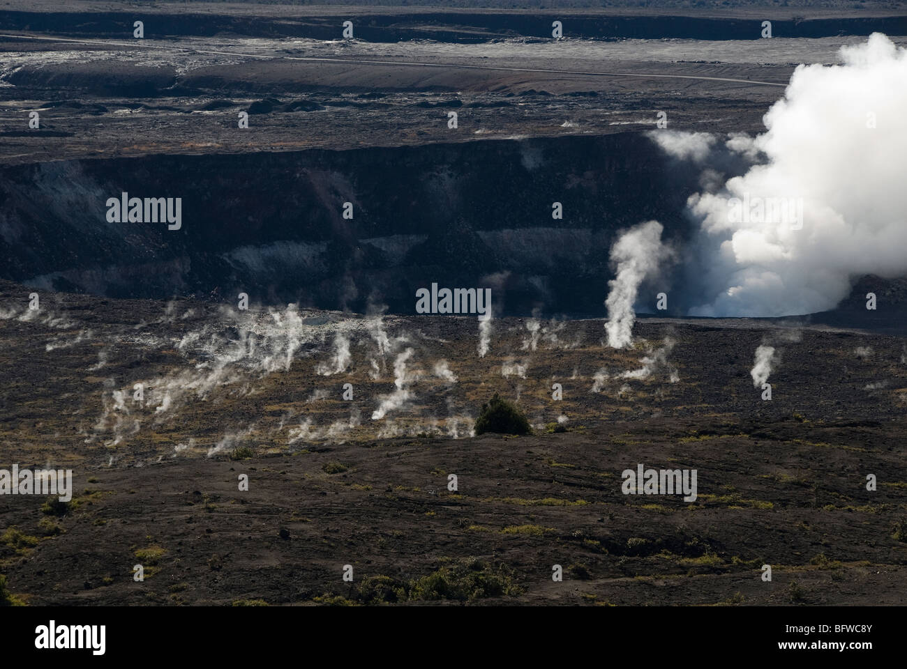Kilauea Caldera and steam vents from Jaggar Museum Hawaii Volcanoes National Park Hawaii USA - Stock Image
