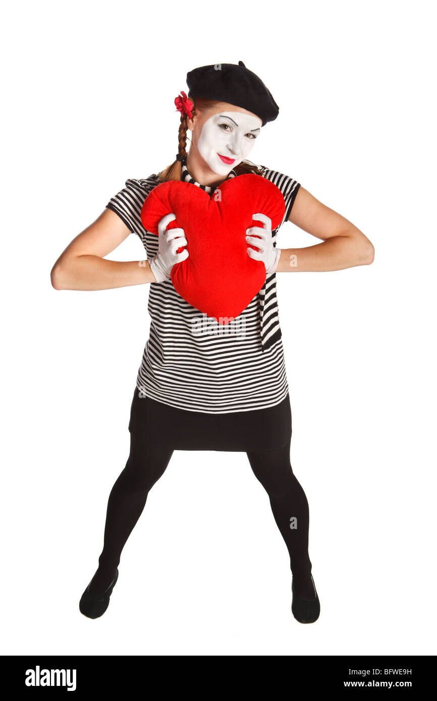Portrait of a mime, valentine day concept. Isolated over white background - Stock Image