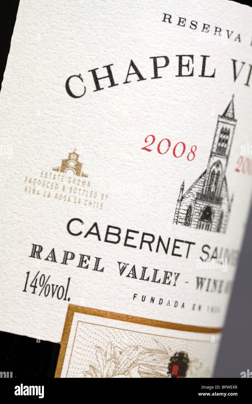 Wine from the Rapel Valley Chile the Chapel Vineyard Cabernet Sauvignon red wine bottle label - Stock Image