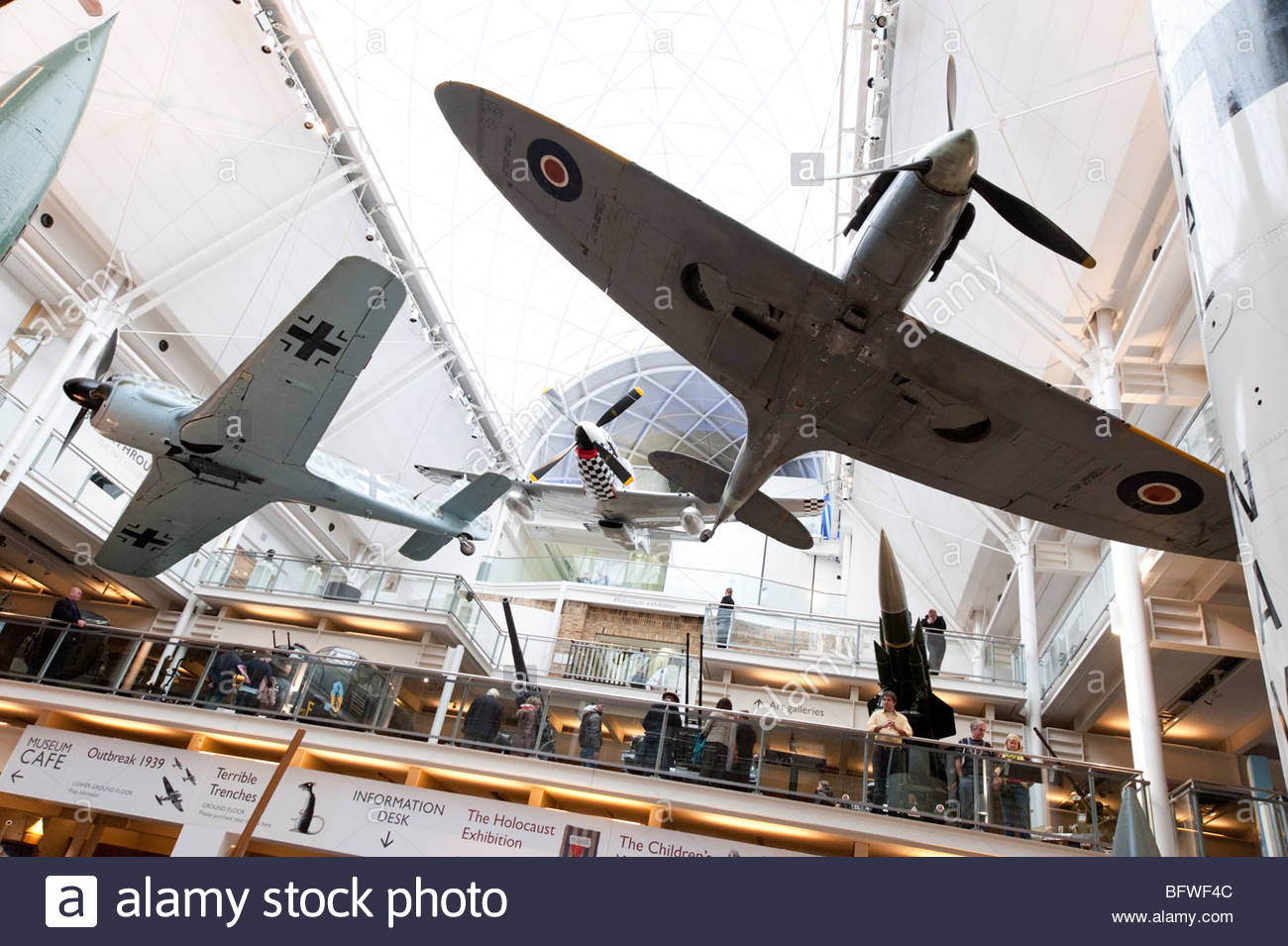 World War II fighter aircraft in the Imperial War Museum, London, England, UK - Stock Image