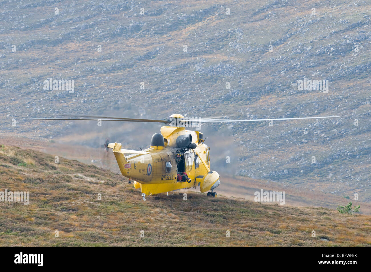 An RAF Sea King (HAR3) helicopter landing in the alpine. - Stock Image