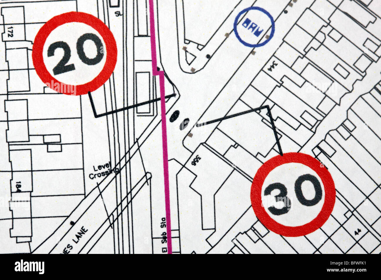 Urban planning road traffic calming 20 mph speed limit sign zones plans in GB UK town city - Stock Image