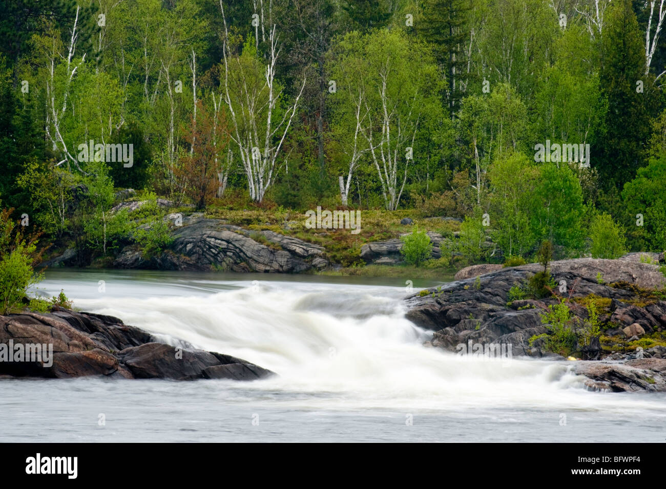 Waterfall and rapids on the Wanapitei River in spring, Greater Sudbury, Ontario, Canada - Stock Image