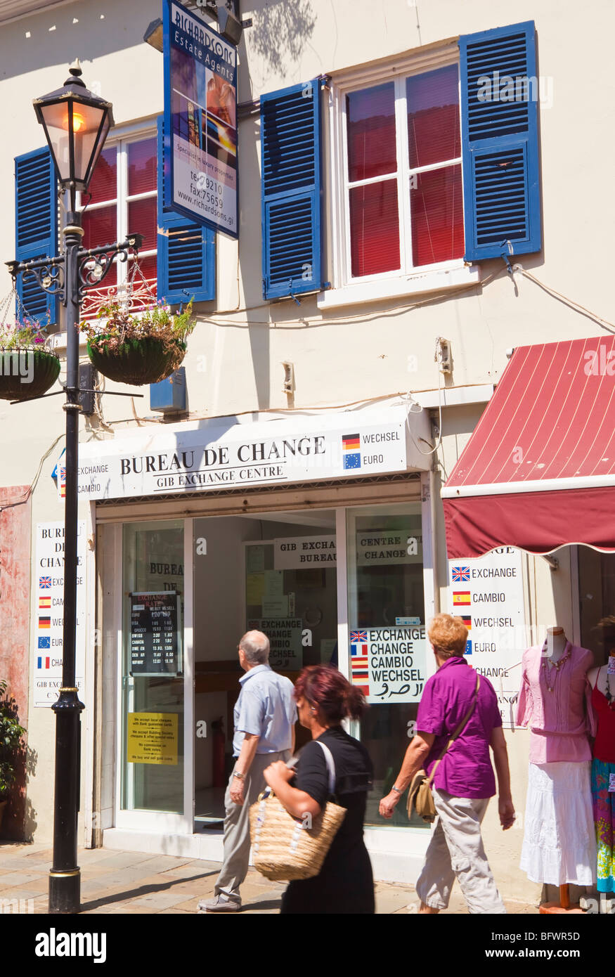 Gibraltar. Bureau de Change on Main Street. - Stock Image