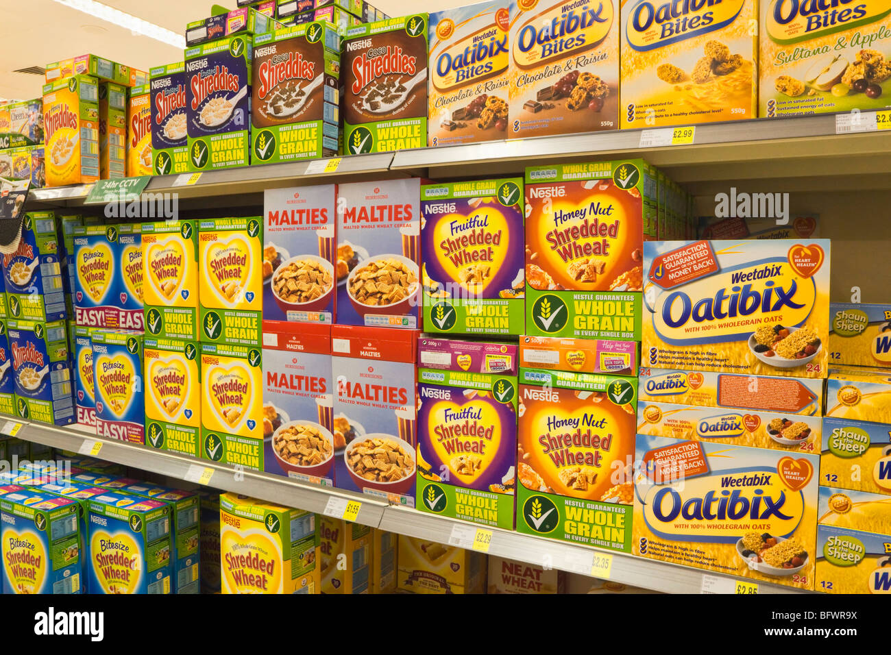 Display of breakfast cereals in Morrisons supermarket Gibraltar - Stock Image