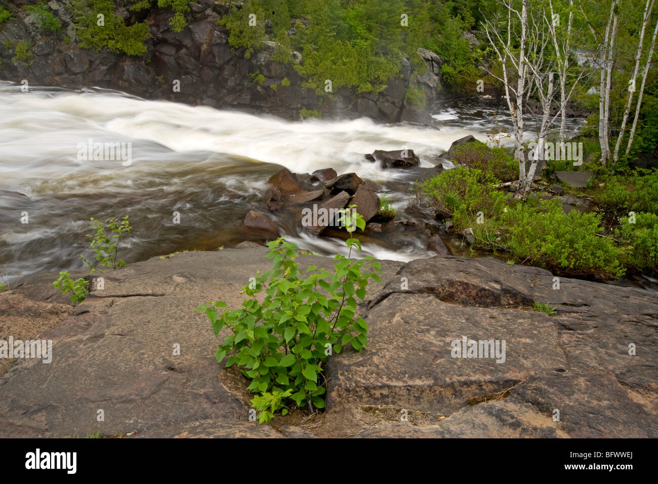 Rapids and standing waves in Onaping River above waterfall, Greater Sudbury, Ontario, Canada - Stock Image