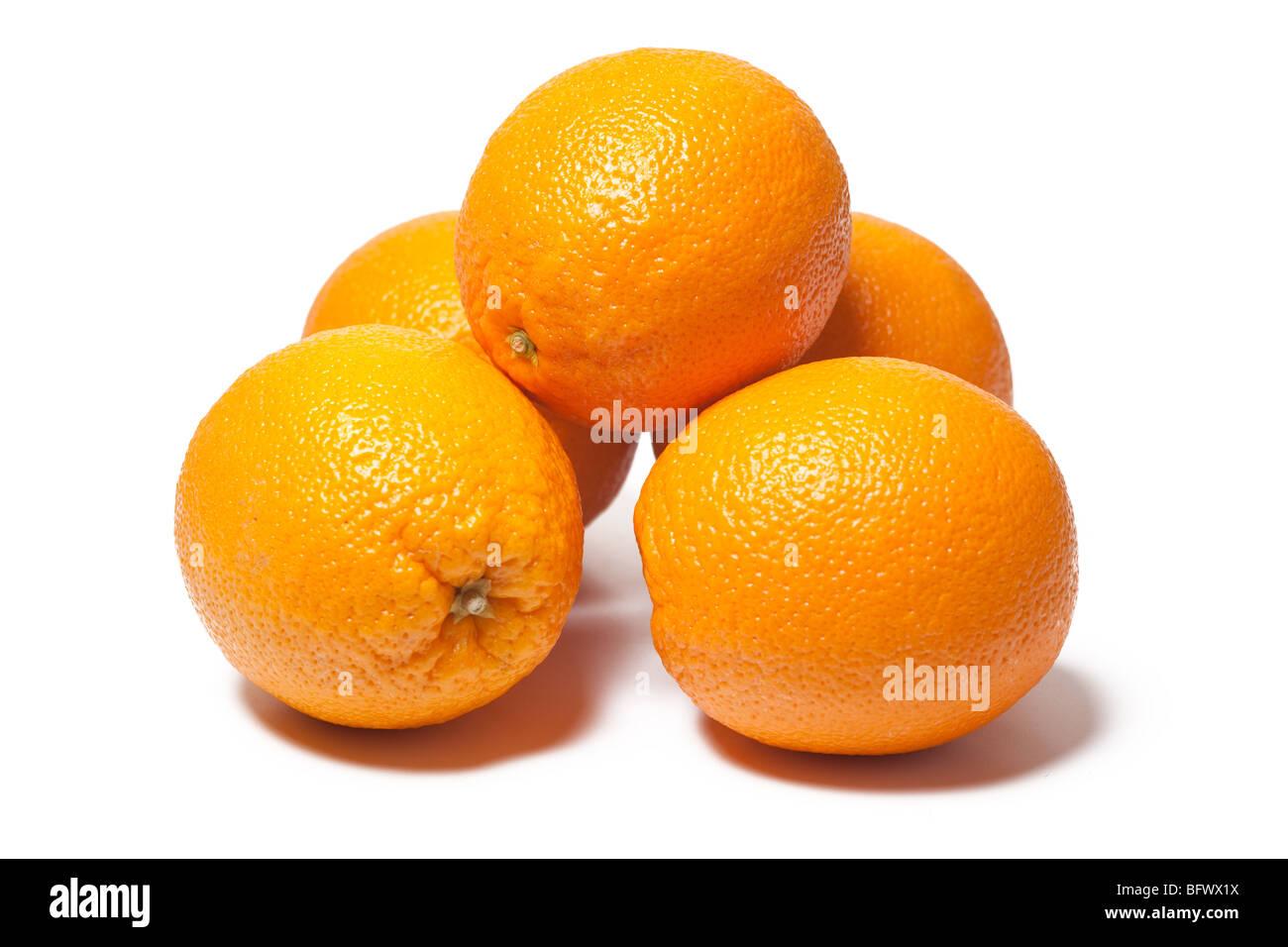 fresh oranges on white background - Stock Image